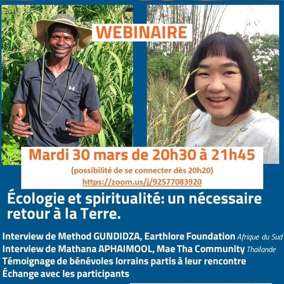 """webinaire """"Écologie et spiritualité, un nécessaire retour à la terre"""" témoignages d'Afrique du Sud et de Thaïlande"""